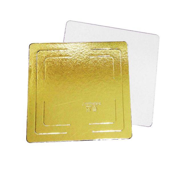 Подложка кондитерская квадратная 300x300 h3.2 золото-жемчуг усиленная ламинированная