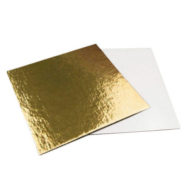 Подложка кондитерская квадратная 300x300 золото-жемчуг усиленная1