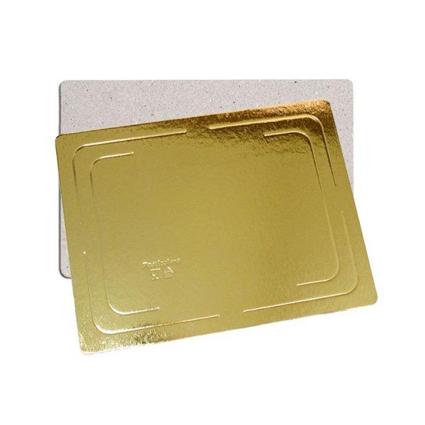 Подложка кондитерская прямоугольная 300х400 h2.5мм золото усиленная