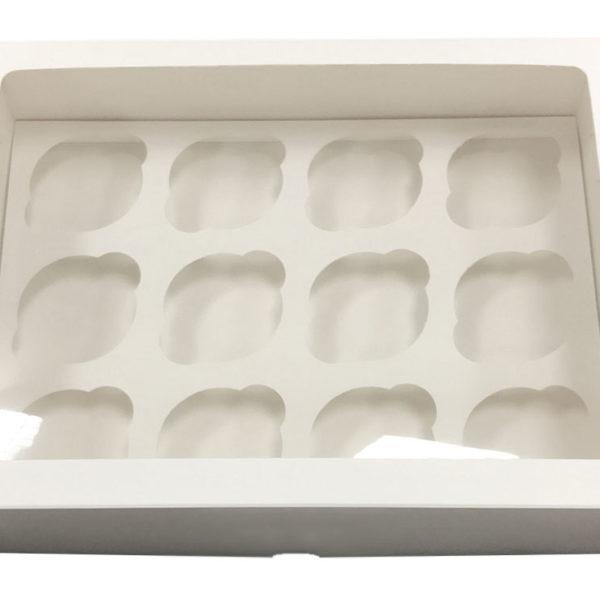 Короб для 12 капкейков с окном белый