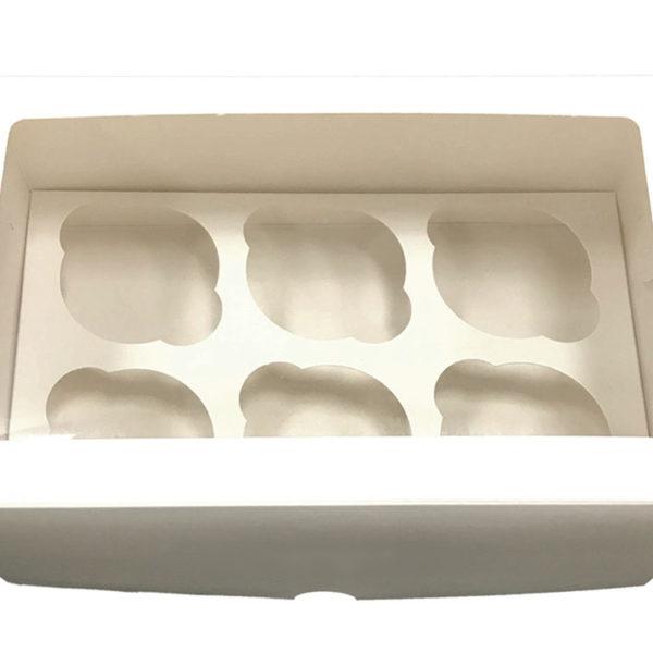 Короб для 6 капкейков с окном белый