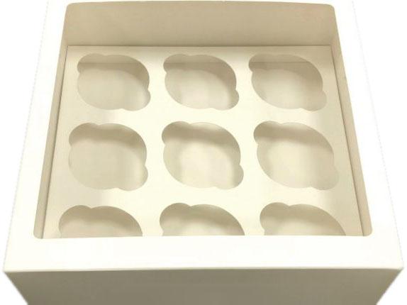 Короб для 9 капкейков с окном белый