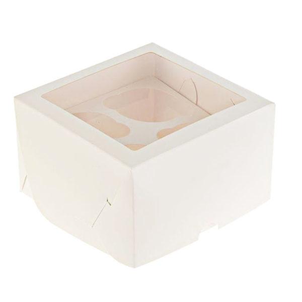Короб для капкейков с окном белый 4