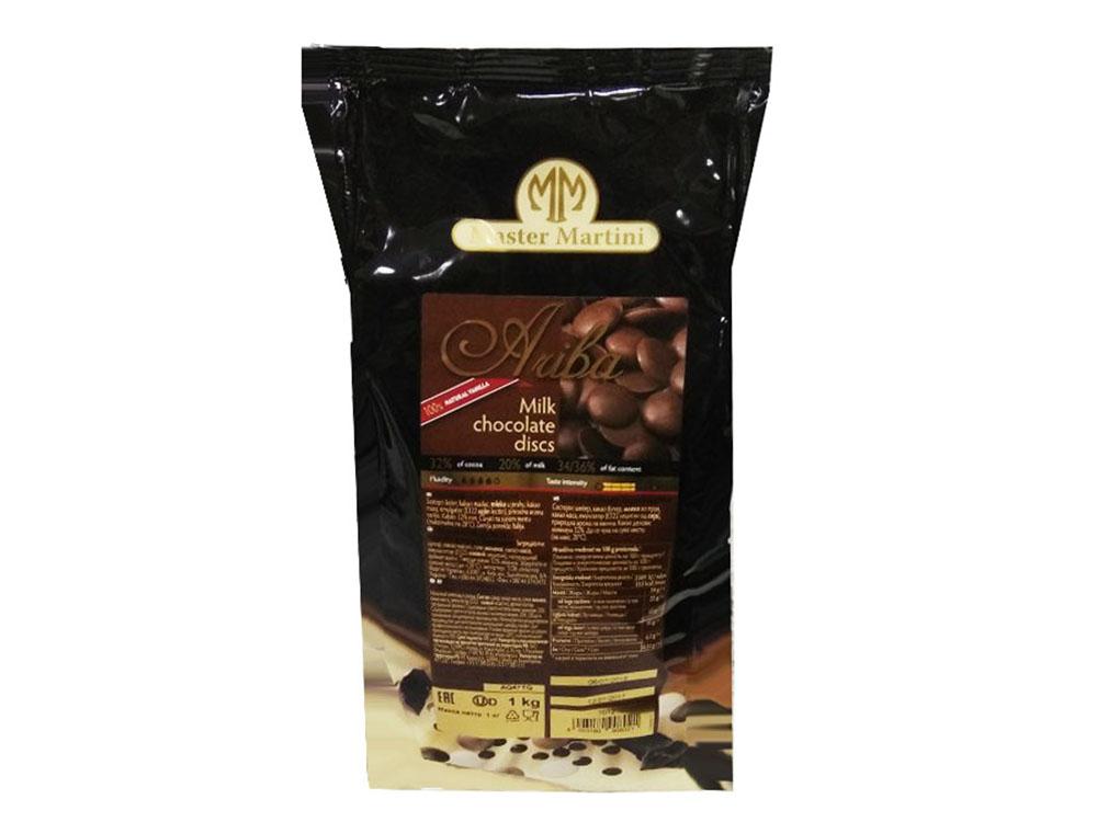 Шоколад натуральный Ariba Latte Dischi Диски молочный шоколад_упаковка