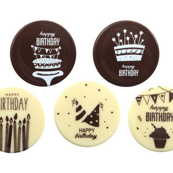Декоративное украшение из шоколада d50 круг 67238 С днем рождения