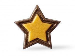 Декоративное украшение из натурального шоколада 77072 Золотая звезда