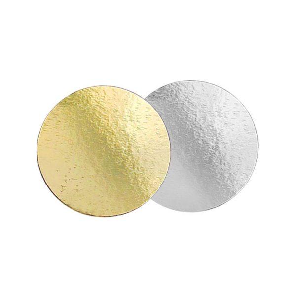 Подложка для тортов №20 круглая 200 мм золото-серебро 0.8 мм