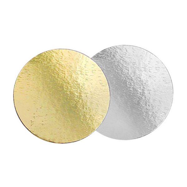 Подложка для тортов №24 круглая 240 мм золото-серебро 0.8 мм