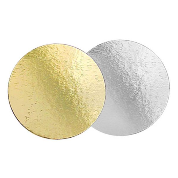 Подложка для тортов №26 круглая 260 мм золото-серебро 0.8 мм