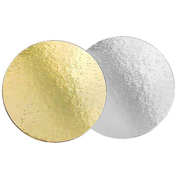 Подложка для тортов №28 круглая 280 мм золото-серебро 0.8 мм