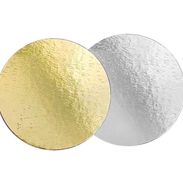 Подложка для тортов №30 круглая 300 мм золото-серебро 0.8 мм