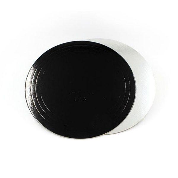 Подложка для тортов круглая d280 мм h3.2 мм серебро-черная усиленная
