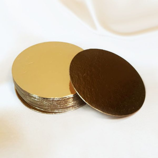 Подложка для тортов круглая d80 h0.8 мм золото