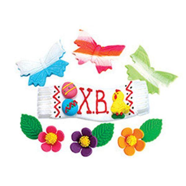 Декоративные сахарные фигурки Набор Цыплята с цветочками