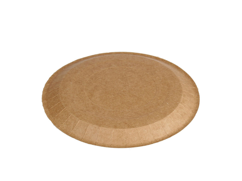 Бумажные тарелки d180 ECO PLATE 180 Крафт 100шт_донышко