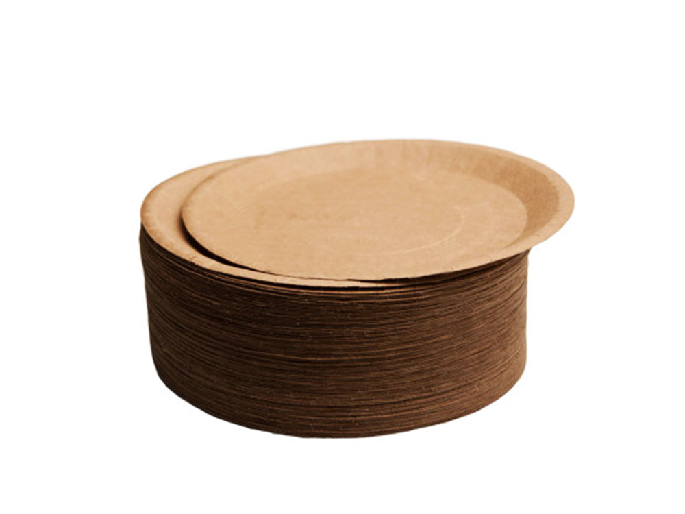 Бумажные тарелки d180 ECO PLATE 180 Крафт 100шт_стопка тарелок