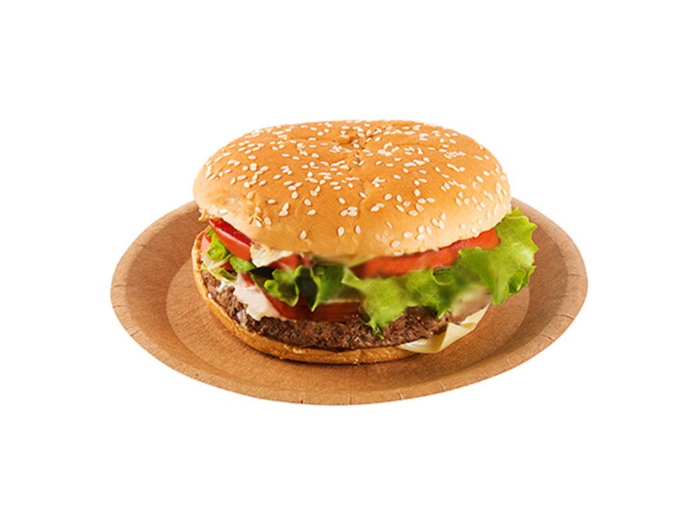 Гамбургер на одноразовой картонной тарелке d180