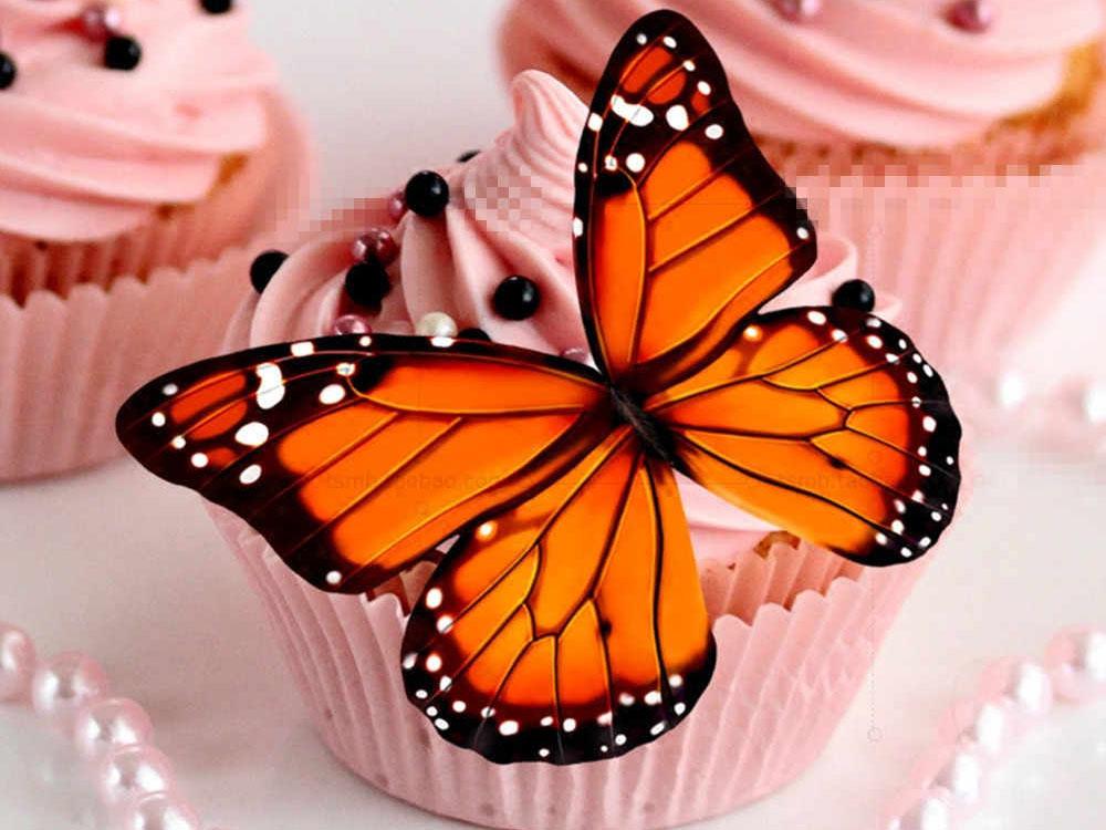Кекс с вафельным украшением Бабочка_1