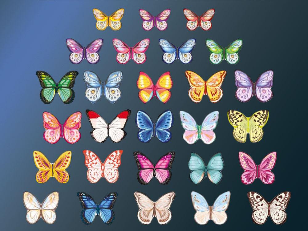 Вафельный декор Бабочки разноцветные двухсторонние (180 штук) tp59943